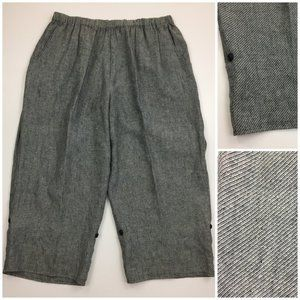 FLAX 100% Linen Convertible Wide Leg Pull On Pants